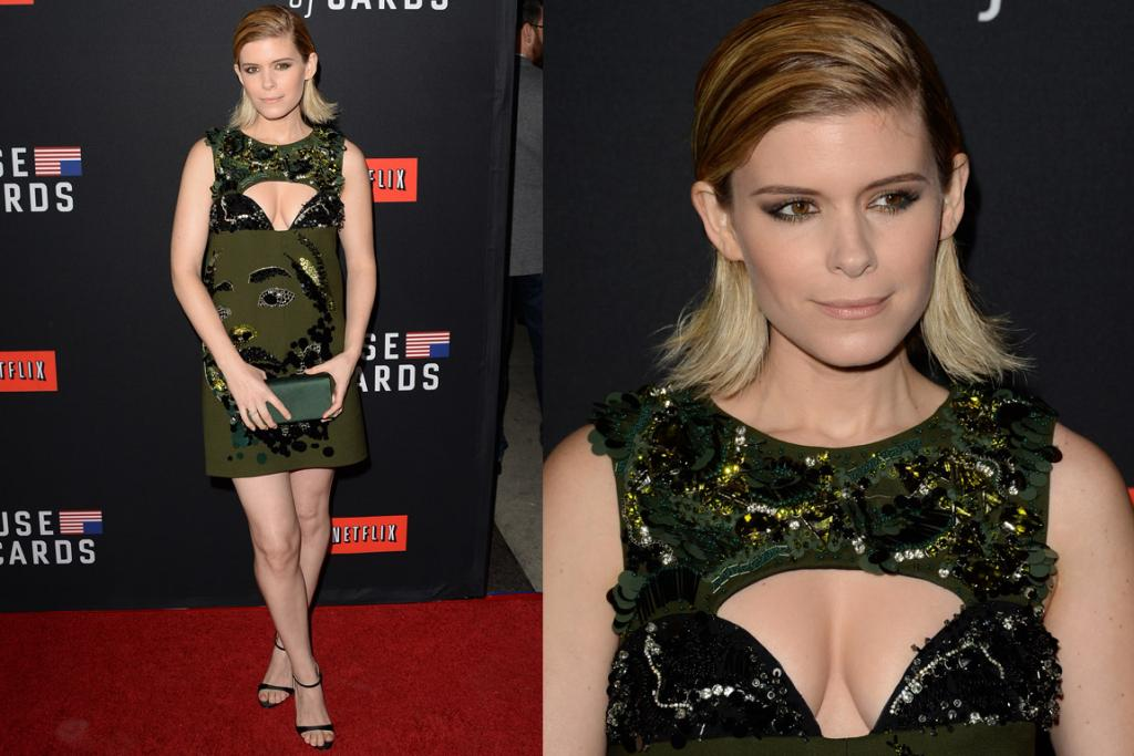 THE BAD: Erm ... S02E01 of House of Cards?! Some freaky-deaky stuff right there. Anywho, moving on. Kate Mara's a wonderful-looking woman, but this Prada dress is doing nothing for her. How did the Italian fashion house think an army-green face dress with boob eyelashes would ever be a thing worth birthing? I find the sequin beard actively gross, the eyelash-sequin effect just above her nipples distracting and her hair? WHY DO CELEBRITIES KEEP THINKING GREASY IS SOMETHING TO AIM FOR. Fire your hairstylists people and hire me. I'll just physically block you from a shower for a few days et voila, you've got the look.