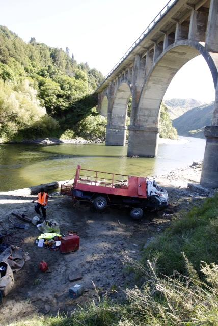 Truck crashes off Gorge