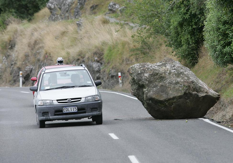 DYERS PASS: A rock sits on Dyers Pass Road after the 6.3 earthquake.