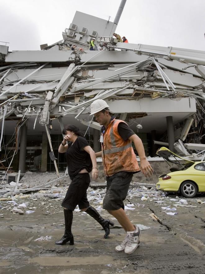 PGC: A woman is rescued from the collapsed PGC building following the 6.3 Christchurch Earthquake.