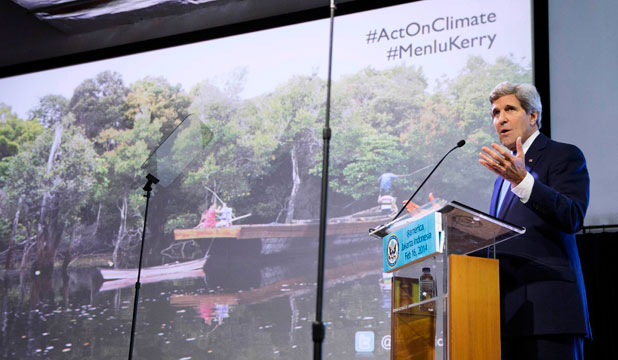 CHANGE CALLS: US Secretary of State John Kerry tears into climate change skeptics in a speech in Jakarta on Sunday.