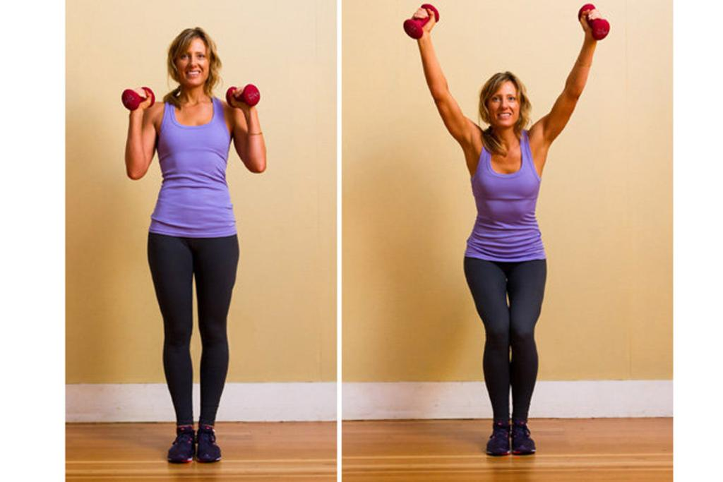 NARROW SQUAT WITH OVERHEAD PRESS: Standing with a much narrower stance while you squat targets the inner thigh, inner quad, and inner hamstring. There is no reason not to multitask on this move — so work your arms too. Here's how: Begin standing with your legs together, arms raised to shoulder height with elbows bent, holding weights by your ears. Squat toward the floor by bending your knees and reaching your bum backward, as if you were sitting in a chair. Keep your legs squeezing together. Focus your weight into your heels. While squatting, raise your arms overhead into a parallel position. Return to starting position by pressing through your heels while bending your elbows to lower the weights back to shoulder level. Do 15 reps for one set. Do three sets.
