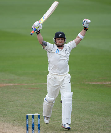 MAGIC 300: Black Caps skipper Brendon McCullum celebrates scoring 300 at the Basin Reserve.