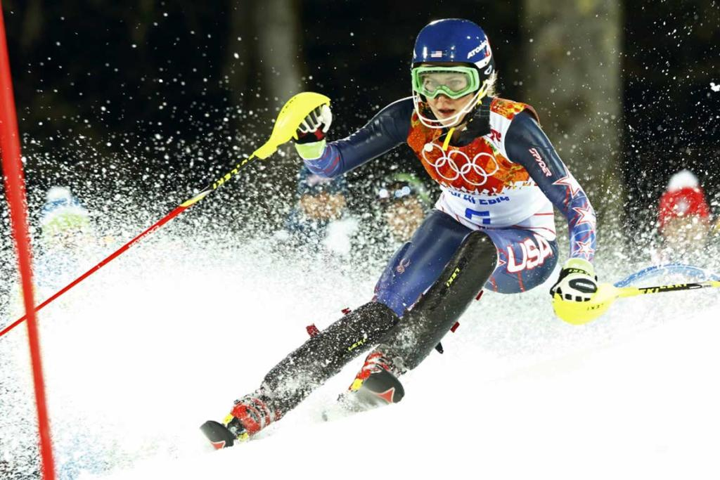 Mikaela Shiffrin on her way to becoming the youngest Olympic slalom champion.