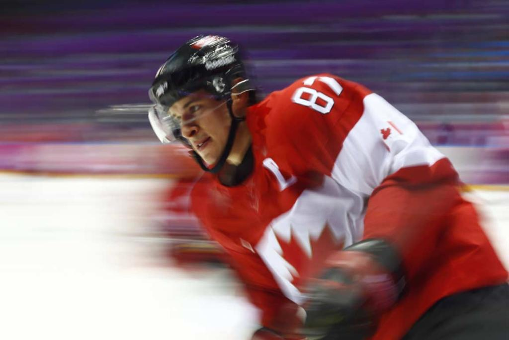 Canadian star Sidney Crosby skates during warm-ups ahead of their semifinal against the USA.
