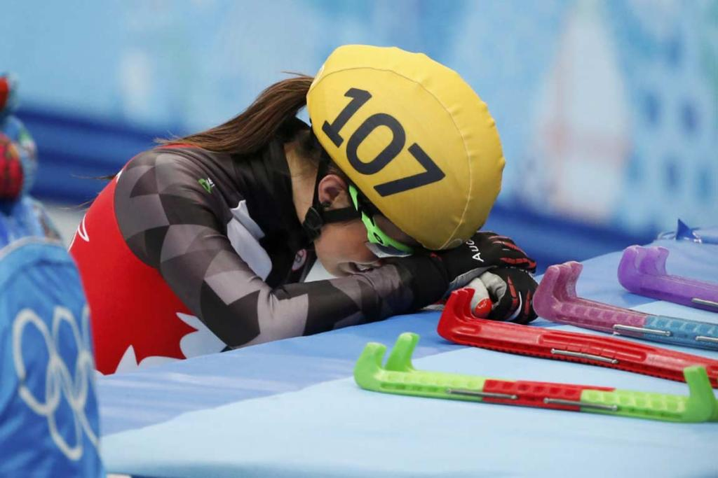 Canada's Valerie Maltais' disappointment is evident after crashing out of the women's 1000m short track semifinals.