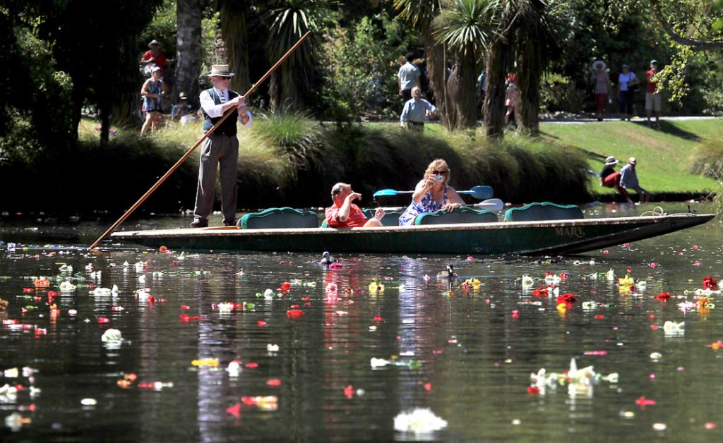 PUNTING: Public Memorial Service on the third anniversary of the Christchurch 22nd February 2011 Earthquake held in the Botanic Gardens. Those attending threw flowers into the river afterwards.