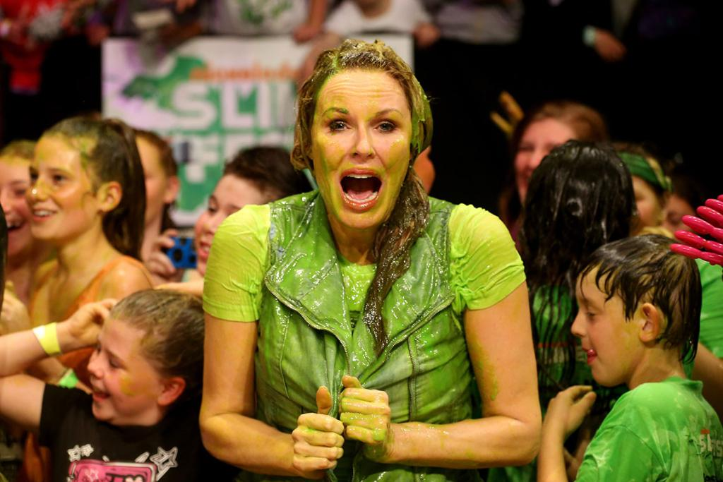 Media personality Charlotte Dawson smiles after getting slimed during the Nickelodeon Slimefest 2012 evening show at Hordern Pavilion on September 15, 2012 in Sydney, Australia.