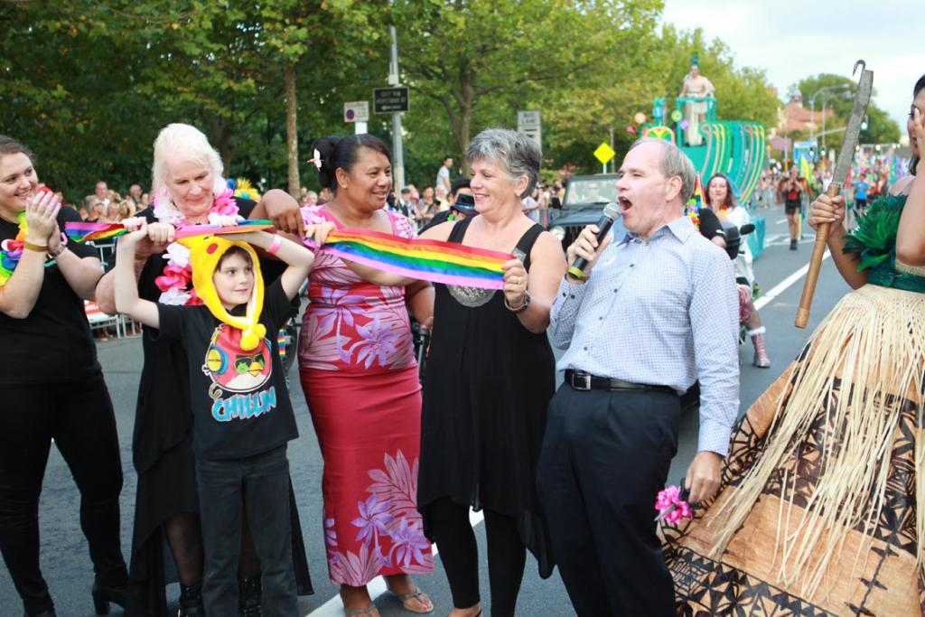 Auckland Mayor Len Brown at the Auckland Pride Parade.