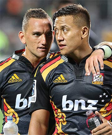 SWEET AS: Chiefs Aaron Cruden, left, and Tim Nanai-Williams celebrate after beating the Crusaders in Christchurch.