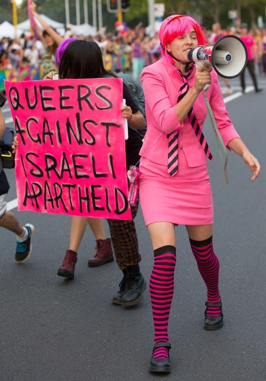 A protest against the Israeli Embassy's presence at the parade.