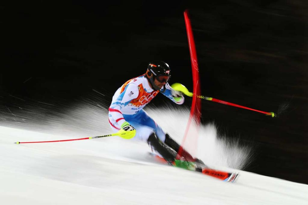Austria's Mario Matt held off compatriot Marcel Hirscher to become the oldest alpine skiing gold medal winner.