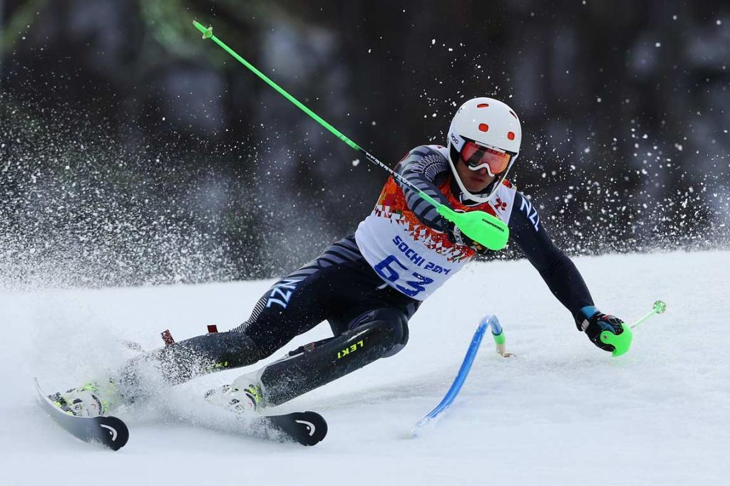 New Zealand's Adam Barwood managed 26th overall in the men's slalom.