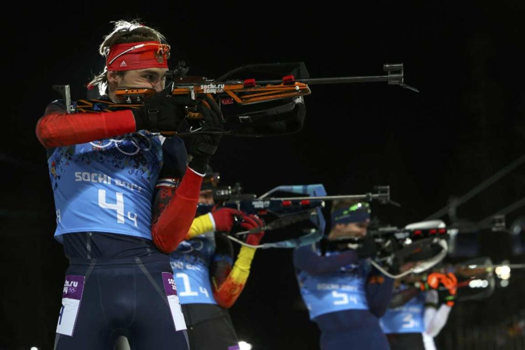Russia's Anton Shipulin shoots during the men's biathlon 4x7.5 km biathlon relay.