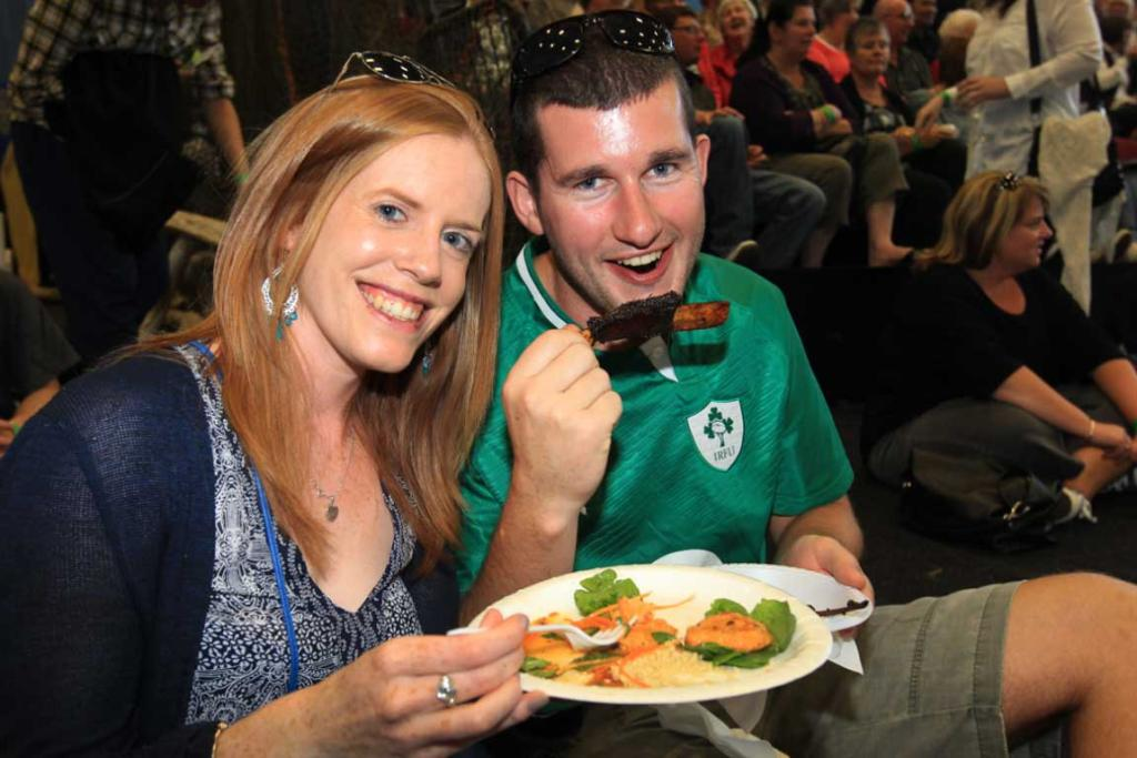 Michelle O'Donoghue and Kieran McCube tuck into some delicacies at the Southern Wild Food Festival.
