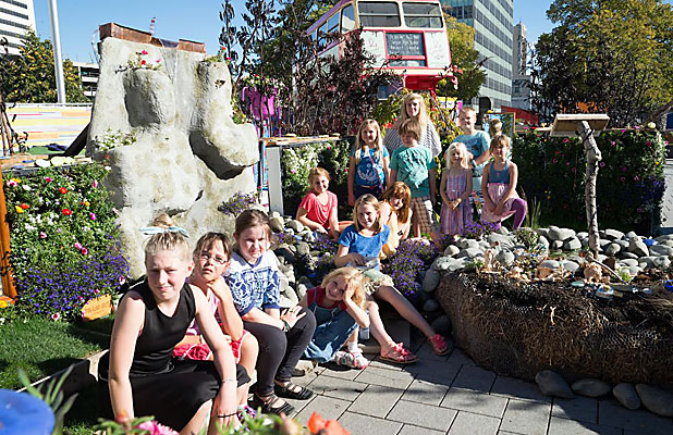 GREEN FINGERS: Discovery 1 students with their trophy-winning garden, Worlds Away.