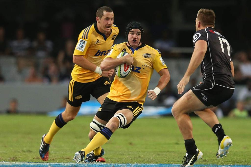 Adam Hill takes on the Sharks defence in Durban.