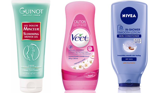 SUDSY SKIN SAVIOURS: Guinot Slimming Shower Gel, $35, Veet In-Shower Hair Removal Cream, $15.99, and Nivea Shower Smooth Lotion, $9.49.