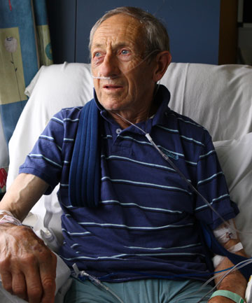 ON THE MEND: Harness racing driver Jim Bond in Southland Hospital yesterday recovering from his injuries.