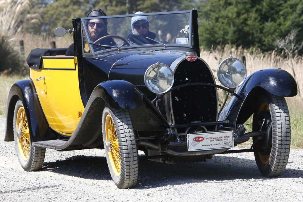 A 1929 Bugatti Type 44 driven by Harry Rogers with passenger Kate Rogers  arrive at Tophouse Historic Guesthouse in the Nelson region while taking part in the Bugatti International Rally in New Zealand.