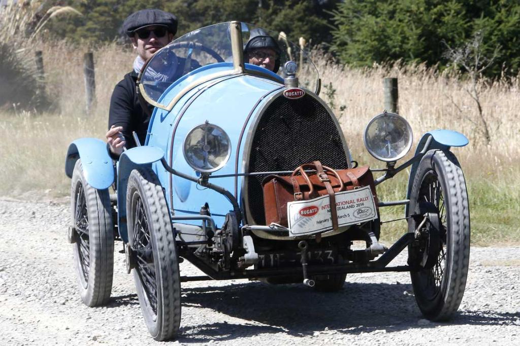 A 1925 Bugatti Type 13 Brescia driven by Charles Knill-Jones and passenger Michael Whiting arrive at Tophouse Historic Guesthouse in the Nelson region while taking part in the Bugatti International Rally in New Zealand.