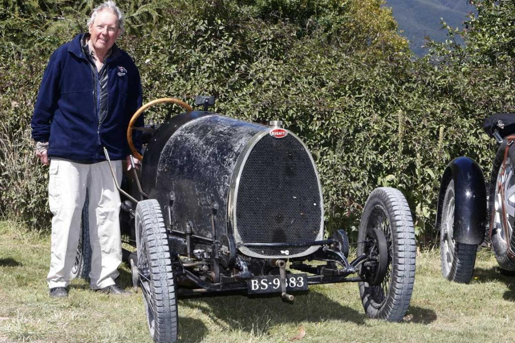 Peter Livesey of United Kingdom with his 1924 Type 13 Bugatti after arriving at Tophouse Historic Guesthouse in the Nelson region while taking part in the Bugatti International Rally in New Zealand.