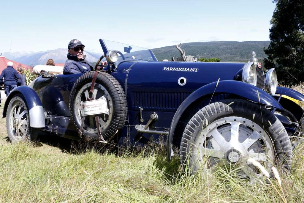 Luc Slijpen of the Netherlands in a 1928 Type 43 original Bugatti after arriving at Tophouse Historic Guesthouse in the Nelson region while taking part in the Bugatti International Rally in New Zealand.