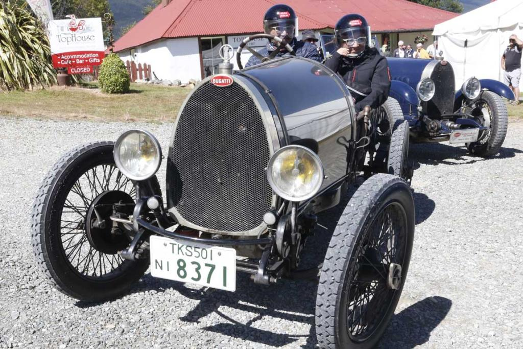 Kyoto and Junko Takemoto of Japan with their 1925 Type 13 Bugatti arrive at Tophouse Historic Guesthouse in the Nelson region while taking part in the Bugatti International Rally in New Zealand.