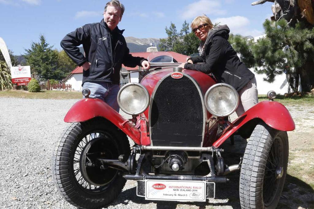 Luc and Nele Hanegreets of Belgium with their original 1928 Type 44 Bugatti during a lunch break at Tophouse Historic Guesthouse in the Nelson region while taking part in the Bugatti International Rally in New Zealand.