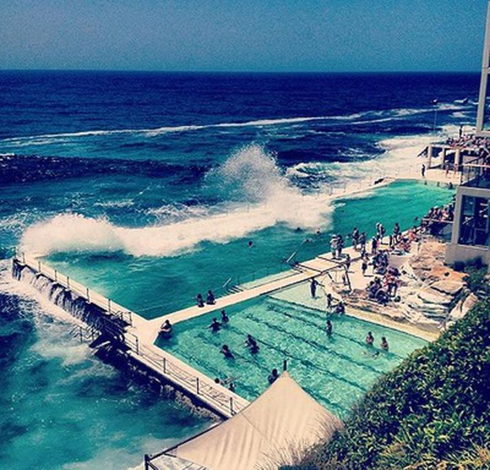Bondi, Sydney, NSW: Soaking up the sun at the famous #Bondi Baths - which have been a landmark of Bondi #Beach for over 100 years. Great shot by @wrighty_kt (50,100 likes)