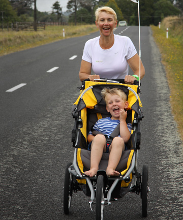 Fun ride: Tracey Thomson-Lamplough pushes her three-year-old son Charlie in preparation for the  marathon she's about to run to raise money for Taranaki Neonatal Trust.