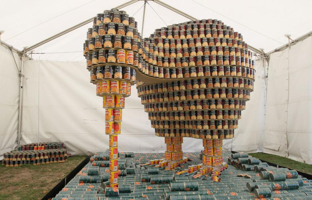 Entry in the Canstruction Contest with cans going to the City Mission. On display at the Ellerslie Flower Show in Hagley Park. Team Name is Can Do from Davis Ogilvie and Partners Ltd.