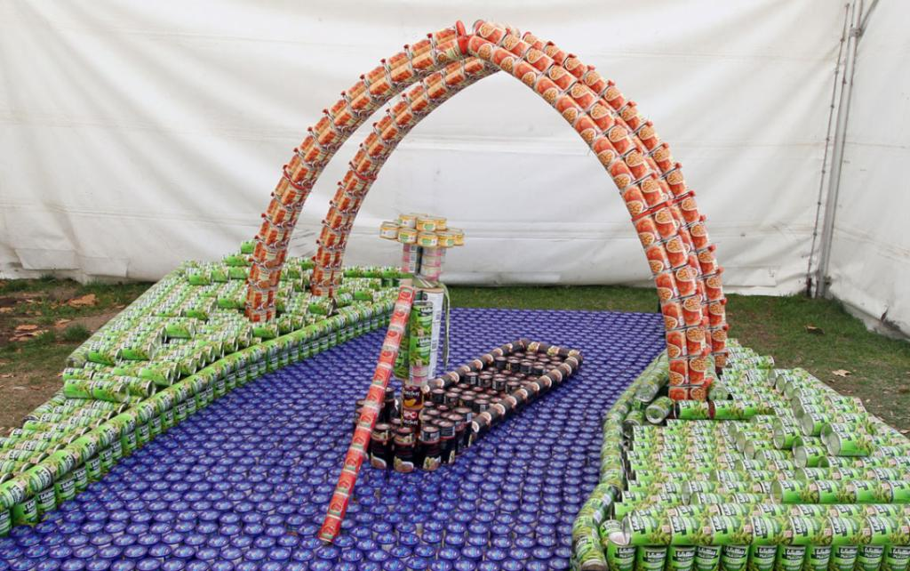 Entry in the Canstruction Contest with cans going to the City Mission. On display at the Ellerslie Flower Show in Hagley Park. Team Name is BeCanz from Beca Ltd.