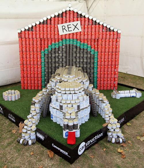 Entry in the Canstruction Contest with cans going to the City Mission. On display at the Ellerslie Flower Show in Hagley Park. Team Name is Fletcher EQR Technical Team.