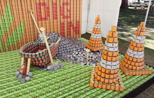 Entry in the Canstruction Contest with cans going to the City Mission. On display at the Ellerslie Flower Show in Hagley Park. Team Name is Liquefaction Action from City Care.