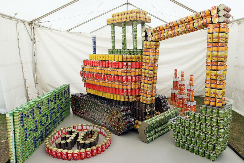 Entry in the Canstruction Contest with cans going to the City Mission. On display at the Ellerslie Flower Show in Hagley Park. Team Name is The Canisters from SCIRT 1st.