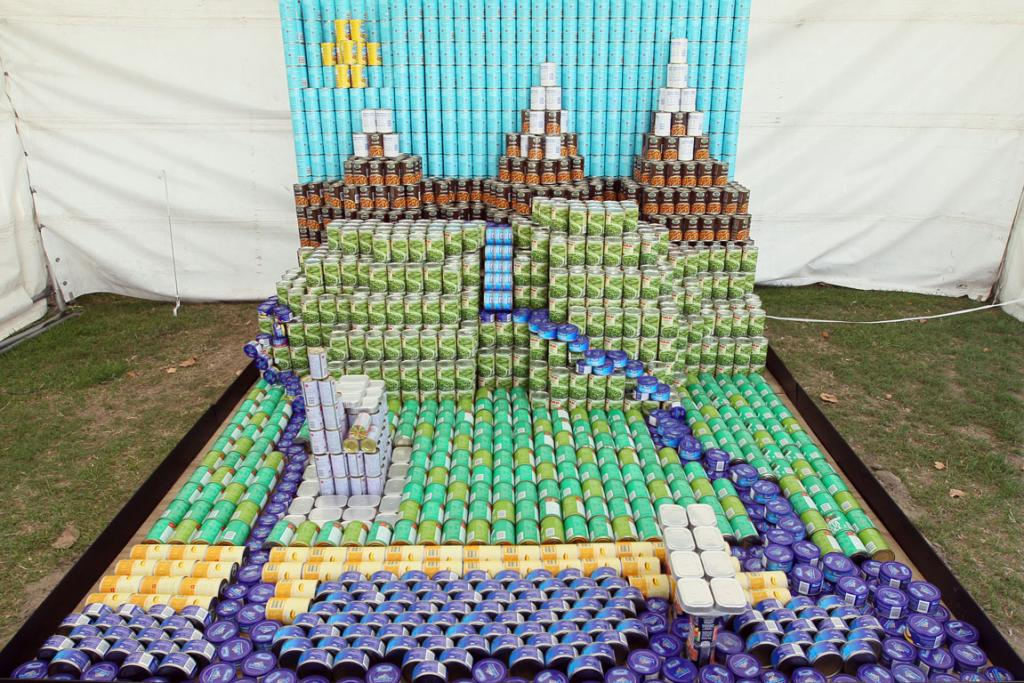 Entry in the Canstruction Contest with cans going to the City Mission. On display at the Ellerslie Flower Show in Hagley Park. Team Name is Canterbury Rebuild from Fulton Hogan NZ.