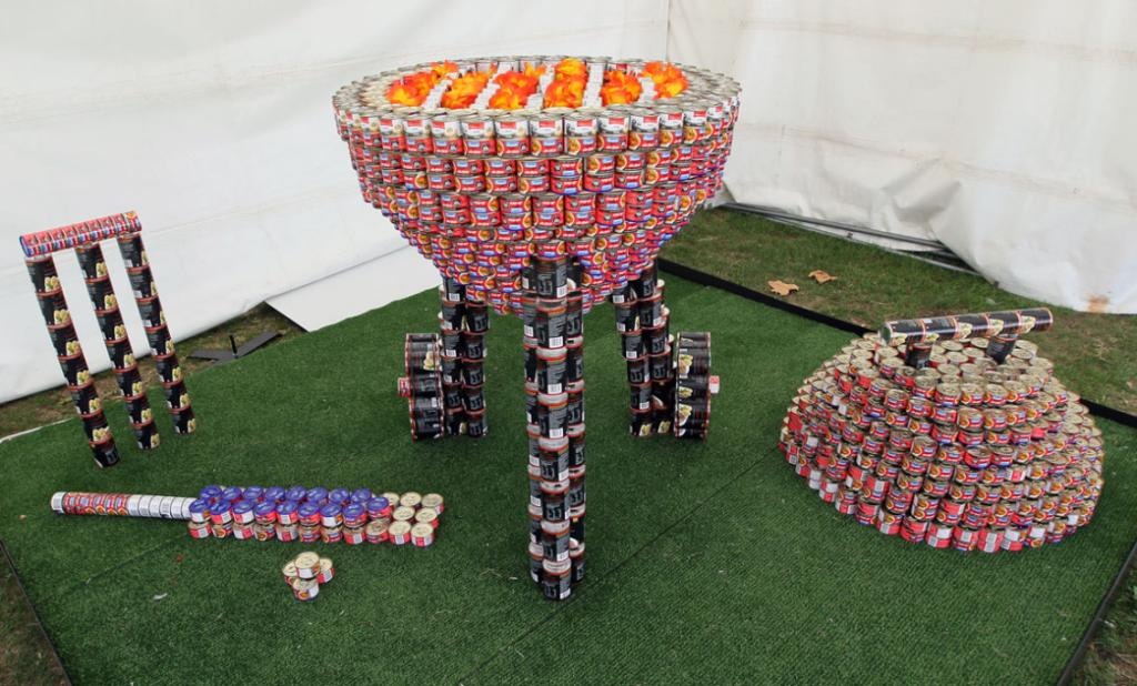 Entry in the Canstruction Contest with cans going to the City Mission. On display at the Ellerslie Flower Show in Hagley Park.Team Name is Ministry of Canstruction from Opus International Consultants/Portacom NZ/Leighs Construction.
