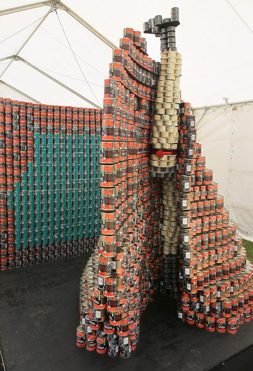 Entry in the Canstruction Contest with cans going to the City Mission. On display at the Ellerslie Flower Show in Hagley Park. Team Name is The New Royals from Isaac Theatre Royal Rebuild Team/RCP/Warren and Mahoney/Holmes Consulting/Naylor Love/Hang Up.