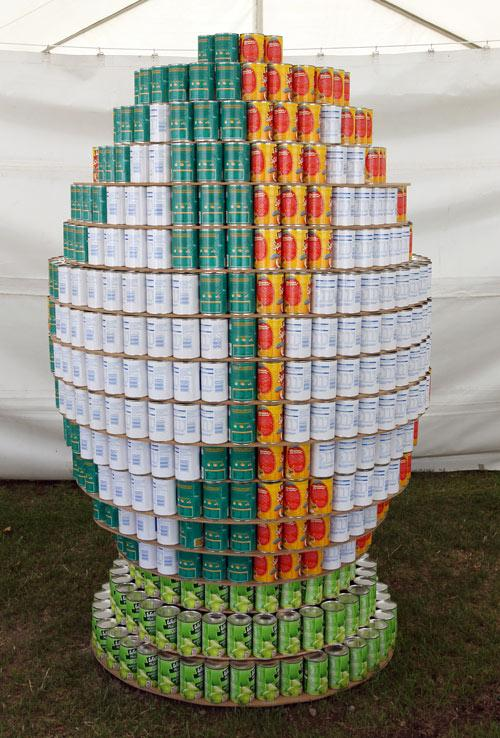 Entry in the Canstruction Contest with cans going to the City Mission. On display at the Ellerslie Flower Show in Hagley Park.Team Name is Creative Canstruction from McConnell Dowell Constructors.