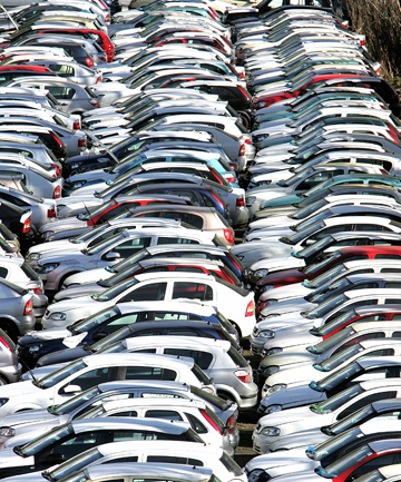 CHANGE COMING: Imported cars await delivery at an Auckland holding yard. By 2020 electronic stability control will be mandatory for all new and used vehicles imported into NZ.