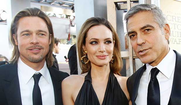 MARRYING HIS FRIENDS? George Clooney is rumoured to be gearing up to marry Brad Pitt and Angelina Jolie.