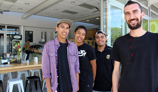 COFFEE CREW: From left: Head chef Ralph, trainees Kesaia Sisi and Jonny Tasi along with co-manager Paul Fletcher from the Roskill Coffee Project.