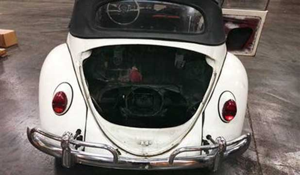 The 1965 Volkswagen Beetle that was stolen 40 years ago in Tennessee after it was recovered in Detroit.