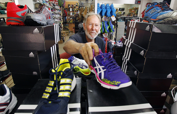 Top sport: Owner of Mitchell Sports Robin Mitchell says he is happy with his business in his new Scott St site for now