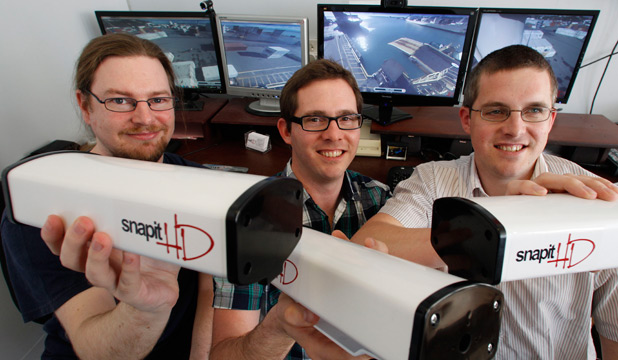 TEAM TALENT: Snapit HD's Steve Taylor, left, Chris Rodley and Andrew Rodley with the Nelson company's latest cameras.