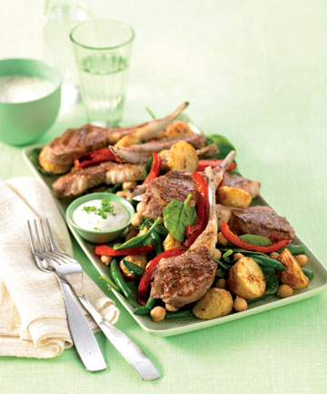 Oregano lamb cutlets with roast potatoes
