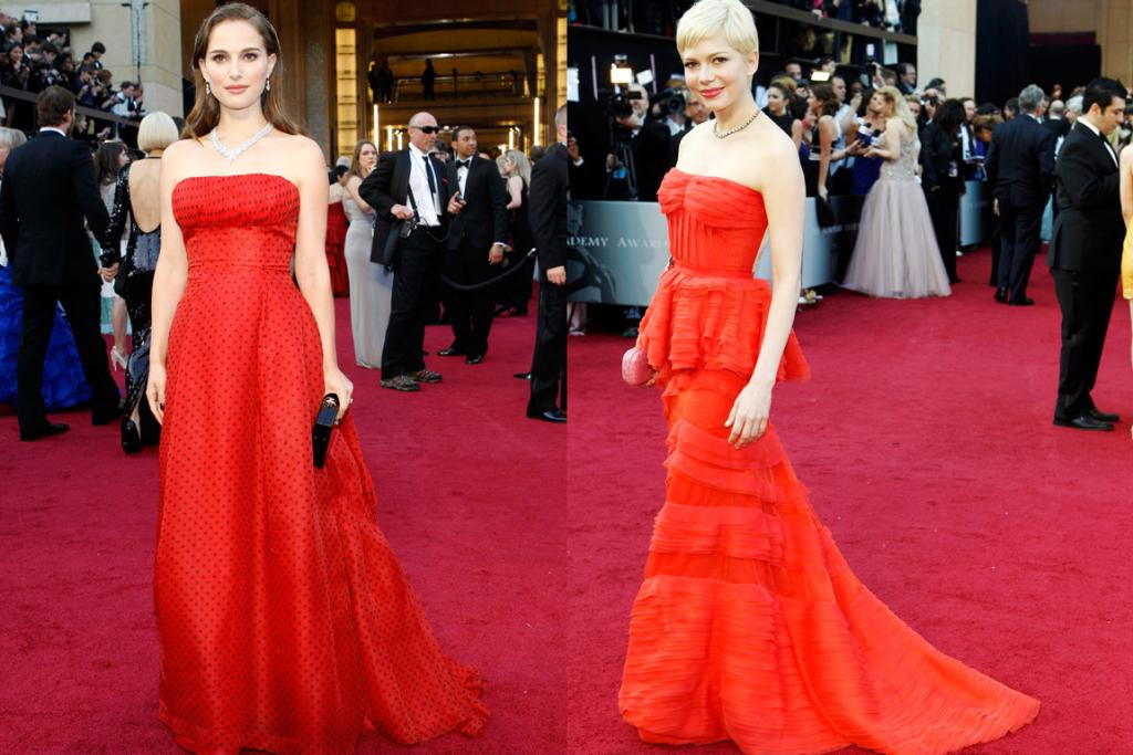 JUST RIGHT: Natalie Portman, in vintage Christian Dior, and Michelle Williams, in Louis Vuitton, in 2012.