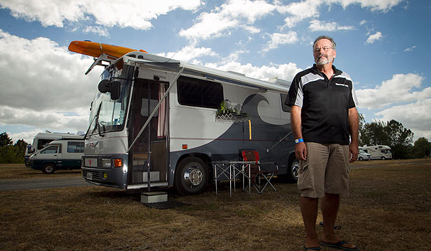 HOME ON WHEELS: Frederick Church roams the country in his Hino bus, and this weekend is parked at Mystery Creek for the Camper Care NZ Motorhome and Caravan Show.