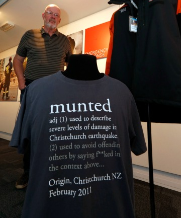 Nelson Provincial Museum chief executive Peter Millward with  former Christchurch mayor Bob Parker's jacket